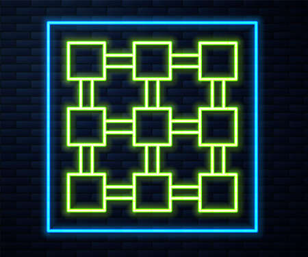 Glowing neon line Blockchain technology icon isolated on brick wall background. Cryptocurrency data. Abstract geometric block chain network technology business. Vector Foto de archivo - 155429219