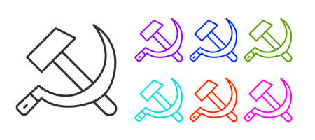 Black line Hammer and sickle USSR icon isolated on white background. Symbol Soviet Union. Set icons colorful. Vector