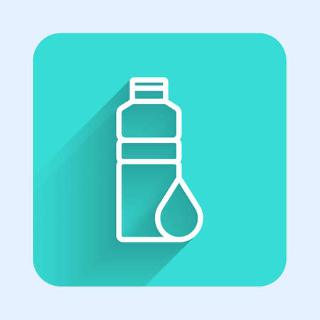 White line Fitness shaker icon isolated with long shadow. Sports shaker bottle with lid for water and protein cocktails. Green square button. Vector