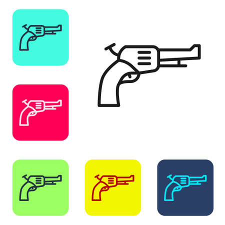 Black line Revolver gun icon isolated on white background. Set icons in color square buttons. Vector