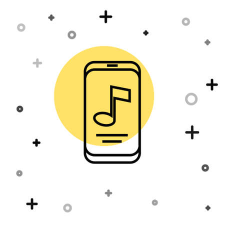 Black line Music player icon isolated on white background. Portable music device. Random dynamic shapes. Vector
