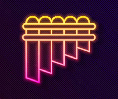 Glowing neon line Pan flute icon isolated on black background. Traditional peruvian musical instrument. Zampona. Folk instrument from Peru, Bolivia and Mexico. Vector Foto de archivo - 155429390