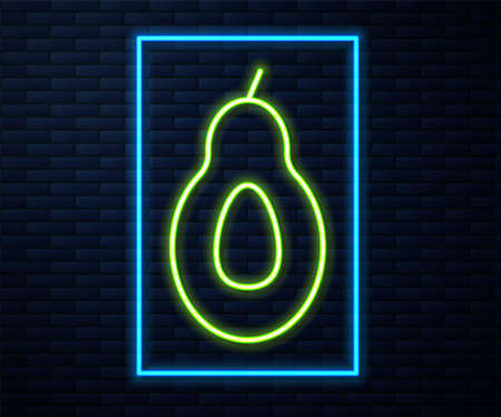 Glowing neon line Avocado fruit icon isolated on brick wall background. Vector Foto de archivo - 155429016
