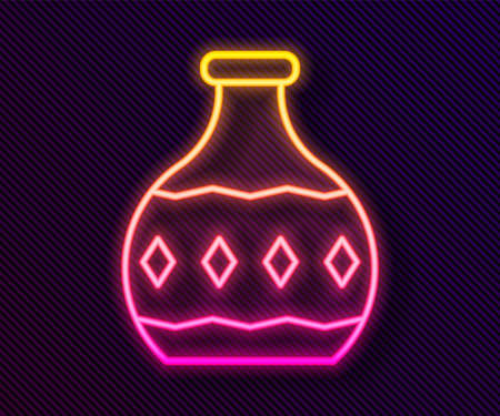 Glowing neon line Tequila bottle icon isolated on black background. Mexican alcohol drink. Vector Vectores