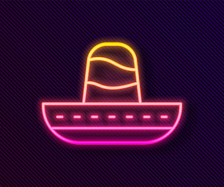 Glowing neon line Traditional mexican sombrero hat icon isolated on black background. Vector Vectores