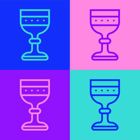 Pop art line Medieval goblet icon isolated on color background. Vector Vectores