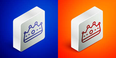 Isometric line King crown icon isolated on blue and orange background. Silver square button. Vector