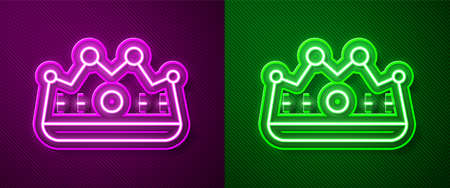 Glowing neon line King crown icon isolated on purple and green background. Vector