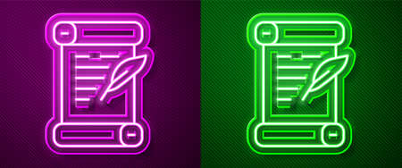 Glowing neon line Decree, paper, parchment, scroll icon icon isolated on purple and green background. Vector Vectores