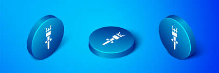 Isometric Torch flame icon isolated on blue background. Symbol fire hot, flame power, flaming and heat. Blue circle button. Vector