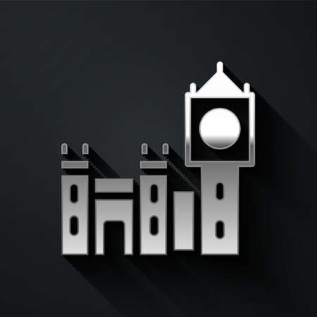 Silver Big Ben tower icon isolated on black background. Symbol of London and United Kingdom. Long shadow style. Vector