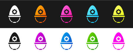 Set British police helmet icon isolated on black and white background. Vector