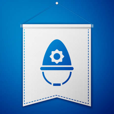 Blue British police helmet icon isolated on blue background. White pennant template. Vector