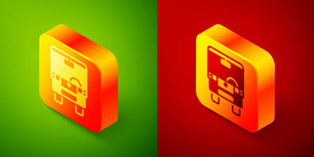 Isometric Bus icon isolated on green and red background. Transportation concept. Bus tour transport sign. Tourism or public vehicle symbol. Square button. Vector Иллюстрация