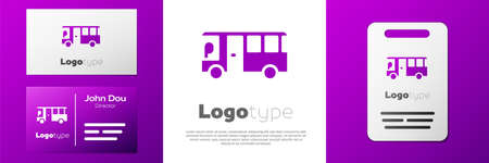 Logotype Bus icon isolated on white background. Transportation concept. Bus tour transport sign. Tourism or public vehicle symbol. Иллюстрация