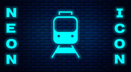 Glowing neon Train and railway icon isolated on brick wall background. Public transportation symbol. Subway train transport. Metro underground. Vector