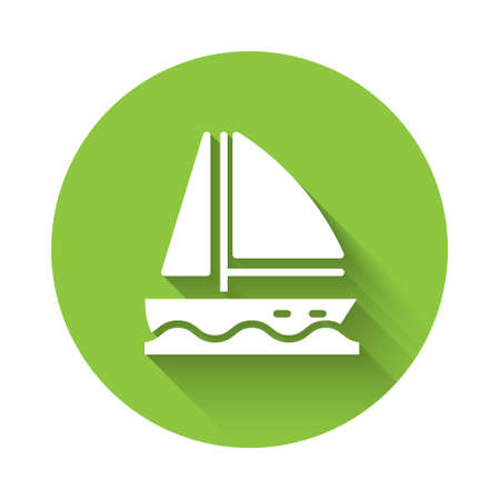White Yacht sailboat or sailing ship icon isolated with long shadow. Sail boat marine cruise travel. Green circle button. Vector