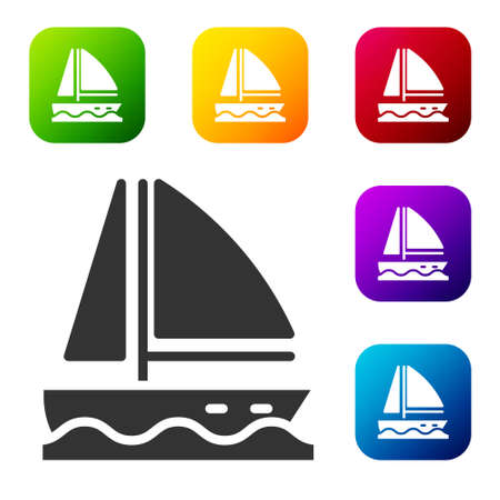 Black Yacht sailboat or sailing ship icon isolated on white background. Sail boat marine cruise travel. Set icons in color square buttons. Vector