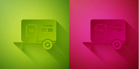 Paper cut Rv Camping trailer icon isolated on green and pink background. Travel mobile home, caravan, home camper for travel. Paper art style. Vector