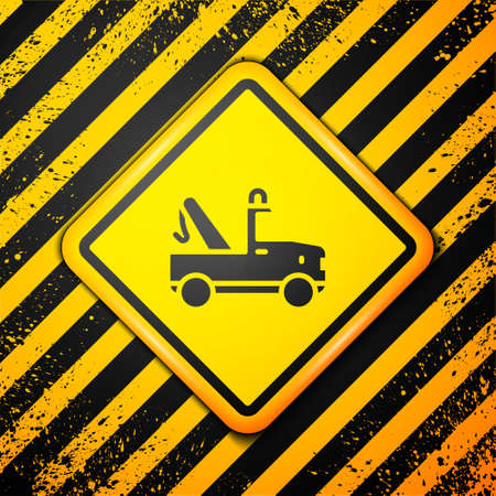 Black Tow truck icon isolated on yellow background. Warning sign. Vector Иллюстрация