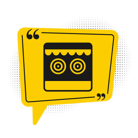 Black Shooting gallery icon isolated on white background. Yellow speech bubble symbol. Vector