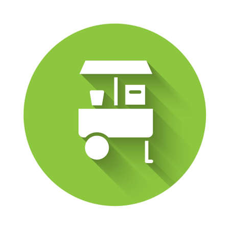 White Fast street food cart icon isolated with long shadow. Urban kiosk. Green circle button. Vector Ilustração