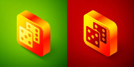 Isometric Game dice icon isolated on green and red background. Casino gambling. Square button. Vector Иллюстрация