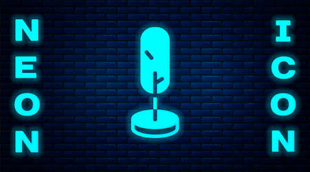 Glowing neon Tree icon isolated on brick wall background. Forest symbol. Vector Иллюстрация