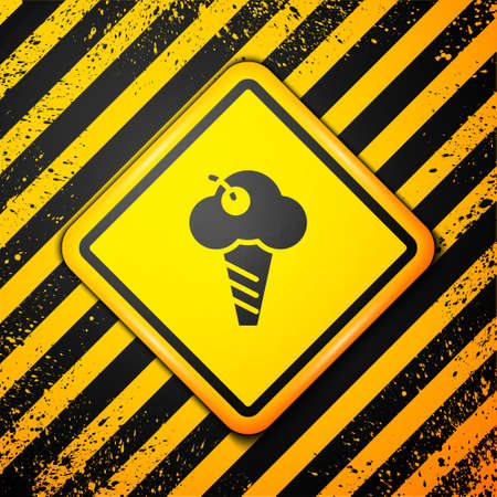 Black Ice cream in waffle cone icon isolated on yellow background. Sweet symbol. Warning sign. Vector