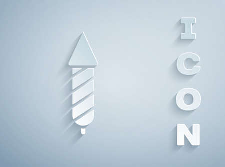 Paper cut Firework rocket icon isolated on grey background. Concept of fun party. Explosive pyrotechnic symbol. Paper art style. Vector Иллюстрация