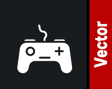 White Gamepad icon isolated on black background. Game controller. Vector Иллюстрация