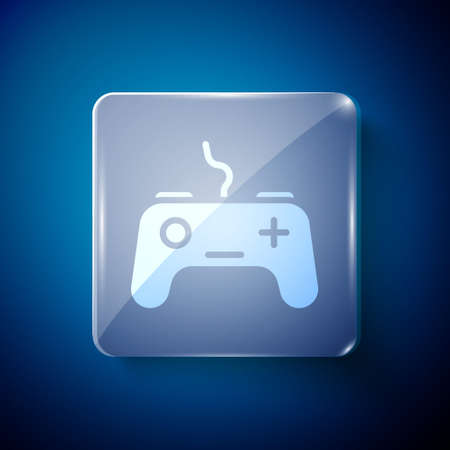 White Gamepad icon isolated on blue background. Game controller. Square glass panels. Vector