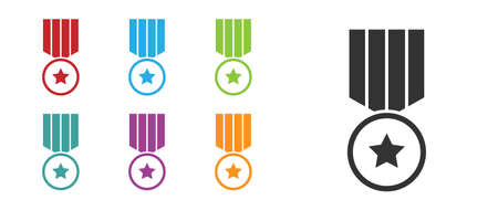 Black Medal with star icon isolated on white background. Winner achievement sign. Award medal. Set icons colorful. Vector