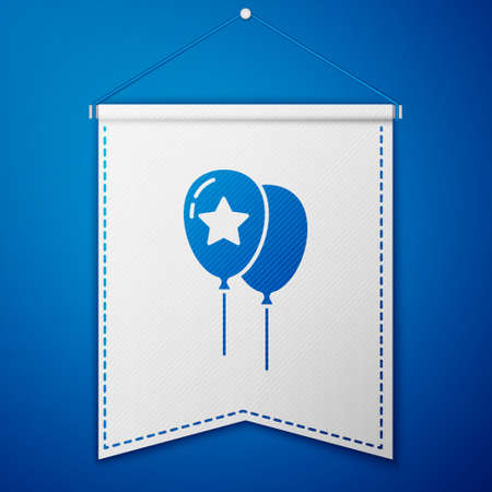 Blue Balloons with ribbon icon isolated on blue background. Happy Easter. White pennant template. Vector