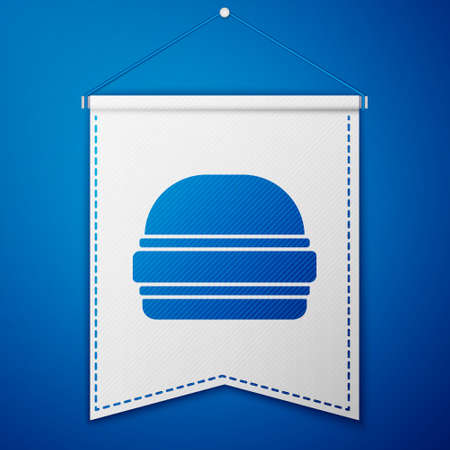 Blue Burger icon isolated on blue background. Hamburger icon. Cheeseburger sandwich sign. Fast food menu. White pennant template. Vector Иллюстрация