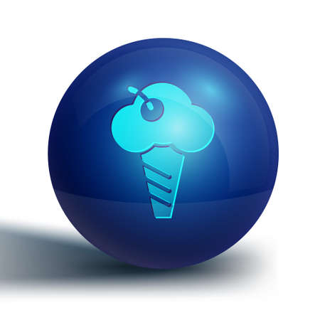 Blue Ice cream in waffle cone icon isolated on white background. Sweet symbol. Blue circle button. Vector