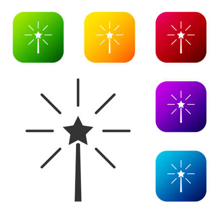 Black Firework icon isolated on white background. Concept of fun party. Explosive pyrotechnic symbol. Set icons in color square buttons. Vector