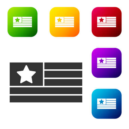 Black American flag icon isolated on white background. Flag of USA. United States of America. Set icons in color square buttons. Vector