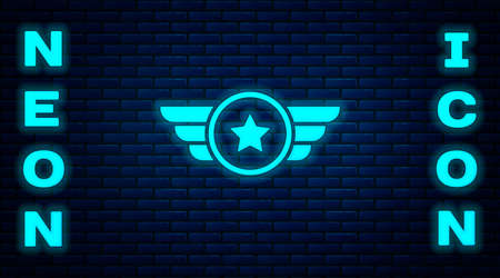 Glowing neon Star American military icon isolated on brick wall background. Military badges. Army patches. Vector