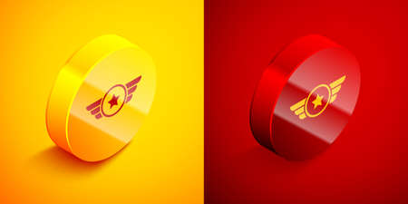 Isometric Star American military icon isolated on orange and red background. Military badges. Army patches. Circle button. Vector