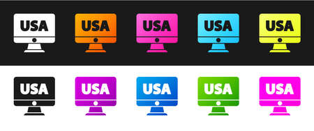 Set USA United states of america on monitor icon isolated on black and white background. Vector
