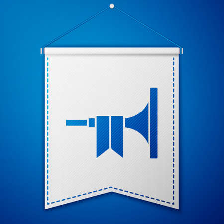 Blue Musical instrument trumpet icon isolated on blue background. White pennant template. Vector