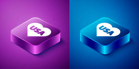 Isometric USA Independence day icon isolated on blue and purple background. 4th of July. United States of America country. Square button. Vector Иллюстрация