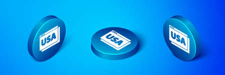 Isometric USA United states of america on browser icon isolated on blue background. Blue circle button. Vector