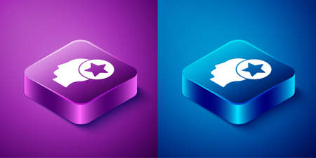 Isometric USA Head icon isolated on blue and purple background. United States of America. Independence day. Square button. Vector