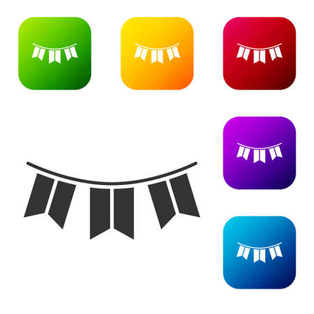 Black Carnival garland with flags icon isolated on white background. Party pennants for birthday celebration, festival decoration. Set icons in color square buttons. Vector