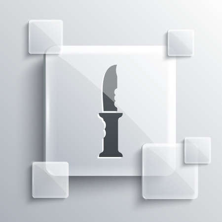 Grey Military knife icon isolated on grey background. Square glass panels. Vector
