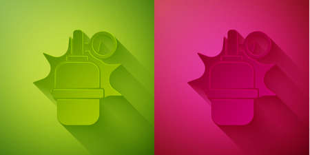 Paper cut Hand grenade icon isolated on green and pink background. Bomb explosion. Paper art style. Vector