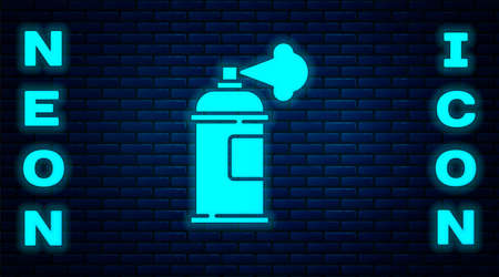 Glowing neon Paint spray can icon isolated on brick wall background. Vector