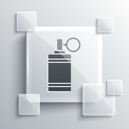 Grey Hand grenade icon isolated on grey background. Bomb explosion. Square glass panels. Vector Иллюстрация